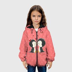 Куртка с капюшоном детская Влюбленные пингвины цвета 3D-черный — фото 2