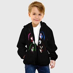 Детская 3D-куртка с капюшоном с принтом KISS: Acid Colours, цвет: 3D-черный, артикул: 10083029605458 — фото 2