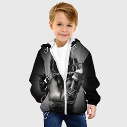 Куртка с капюшоном детская Девушка с цепью цвета 3D-белый — фото 2