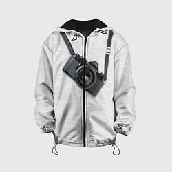 Куртка с капюшоном детская Фотоаппарат на груди цвета 3D-черный — фото 1