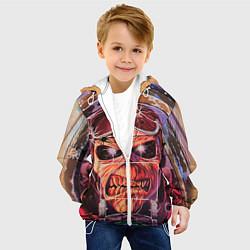 Детская 3D-куртка с капюшоном с принтом Iron Maiden: Dead Rider, цвет: 3D-белый, артикул: 10089879805458 — фото 2