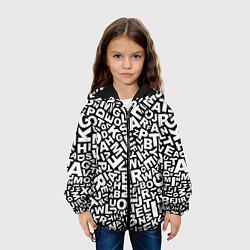 Куртка с капюшоном детская Английский алфавит цвета 3D-черный — фото 2