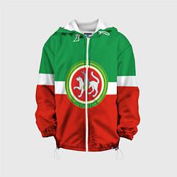 Детская 3D-куртка с капюшоном с принтом Татарстан: флаг, цвет: 3D-белый, артикул: 10094275105458 — фото 1