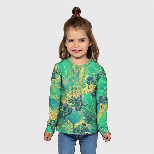 Детский лонгслив Узор из листьев / 3D – фото 5