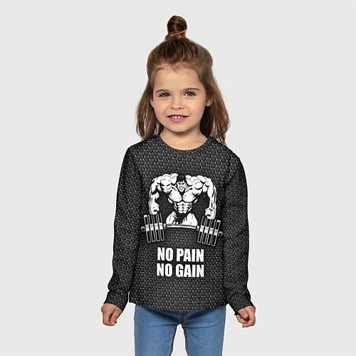 Детский лонгслив No pain, no gain / 3D – фото 5