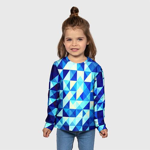 Детский лонгслив Синяя геометрия / 3D – фото 5