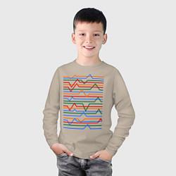 Лонгслив хлопковый детский Эквалайзер цвета миндальный — фото 2