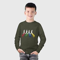 Лонгслив хлопковый детский Beatles Color цвета меланж-хаки — фото 2