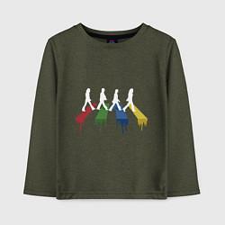 Лонгслив хлопковый детский Beatles Color цвета меланж-хаки — фото 1