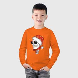 Лонгслив хлопковый детский Череп Санты цвета оранжевый — фото 2