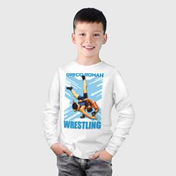 Лонгслив хлопковый детский Greco-roman wrestling цвета белый — фото 2