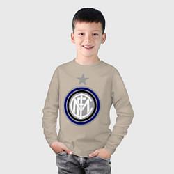 Лонгслив хлопковый детский Inter FC цвета миндальный — фото 2
