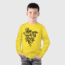 Лонгслив хлопковый детский All you need is love цвета желтый — фото 2