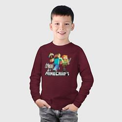 Лонгслив хлопковый детский MINECRAFT цвета меланж-бордовый — фото 2