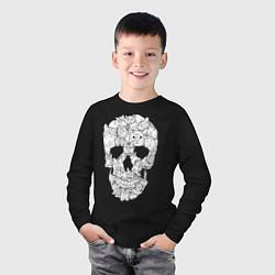 Лонгслив хлопковый детский ЧЕРЕП ИЗ КОТИКОВ цвета черный — фото 2