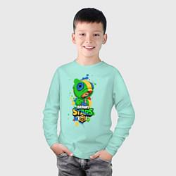 Лонгслив хлопковый детский Leon Brawl Stars цвета мятный — фото 2