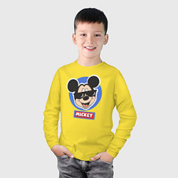 Лонгслив хлопковый детский Микки цвета желтый — фото 2