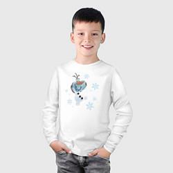 Лонгслив хлопковый детский Веселый Олаф цвета белый — фото 2