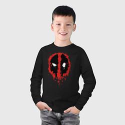 Лонгслив хлопковый детский Deadpool logo цвета черный — фото 2