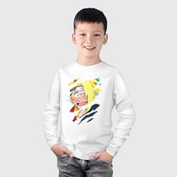 Лонгслив хлопковый детский Дейдара Deidara цвета белый — фото 2