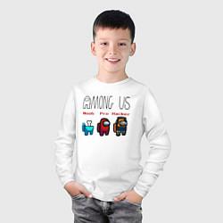 Лонгслив хлопковый детский Among Us - Noob Pro Hacker Z цвета белый — фото 2