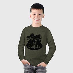 Лонгслив хлопковый детский The Beatles Band цвета меланж-хаки — фото 2