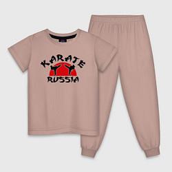 Пижама хлопковая детская Karate Russia цвета пыльно-розовый — фото 1