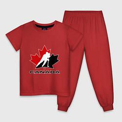 Пижама хлопковая детская Canada цвета красный — фото 1