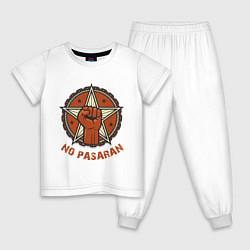 Пижама хлопковая детская No Pasaran цвета белый — фото 1