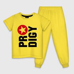 Пижама хлопковая детская Prodigy Star цвета желтый — фото 1