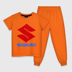 Пижама хлопковая детская Suzuki цвета оранжевый — фото 1