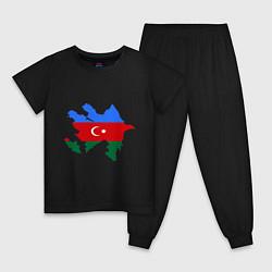 Пижама хлопковая детская Azerbaijan map цвета черный — фото 1