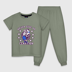 Пижама хлопковая детская WWE Never Give Up цвета авокадо — фото 1