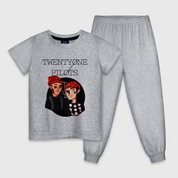 Пижама хлопковая детская TOP Boys цвета меланж — фото 1