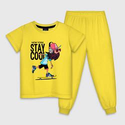 Пижама хлопковая детская Stay cool цвета желтый — фото 1