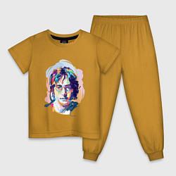 Пижама хлопковая детская John Lennon: Art цвета горчичный — фото 1