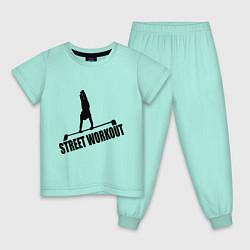 Пижама хлопковая детская Street WorkOut цвета мятный — фото 1