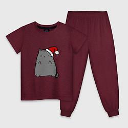 Пижама хлопковая детская New Year Kitty FCK цвета меланж-бордовый — фото 1