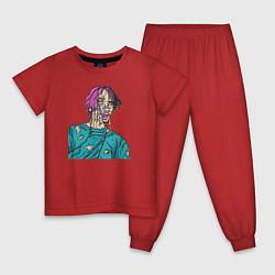 Пижама хлопковая детская Lil Peep: Zombie Face цвета красный — фото 1