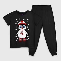 Пижама хлопковая детская Пингвин в снегу цвета черный — фото 1
