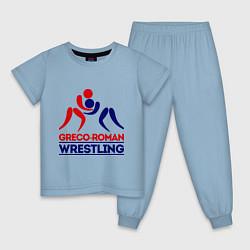 Пижама хлопковая детская Greco-roman wrestling цвета мягкое небо — фото 1