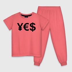 Пижама хлопковая детская YE$ цвета коралловый — фото 1