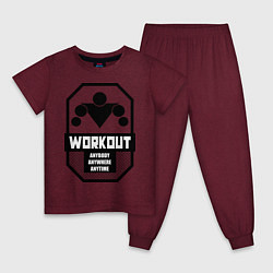 Пижама хлопковая детская WorkOut Anytime цвета меланж-бордовый — фото 1