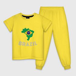 Пижама хлопковая детская Brazil Country цвета желтый — фото 1
