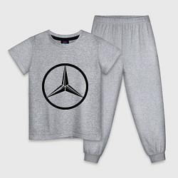 Пижама хлопковая детская Mercedes-Benz logo цвета меланж — фото 1