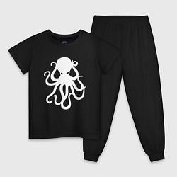Пижама хлопковая детская Кракен-осьминог цвета черный — фото 1