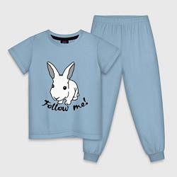 Пижама хлопковая детская Rabbit: follow me цвета мягкое небо — фото 1