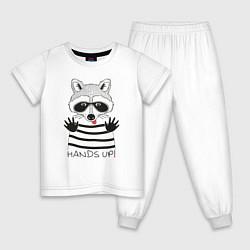 Пижама хлопковая детская Hands Up цвета белый — фото 1