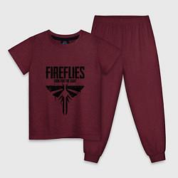 Пижама хлопковая детская Fireflies: Look for the Light цвета меланж-бордовый — фото 1