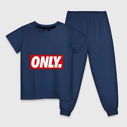 Пижама хлопковая детская Only Obey цвета тёмно-синий — фото 1